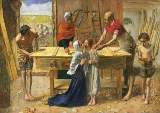 Millais, John Everett: Christ/Jesus in the House of His Parents. Fine Art Print/Poster. Sizes: A4/A3/A2/A1 (00703)